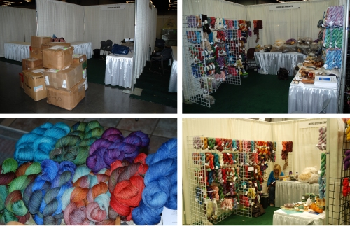 Clockwise from top left: Setup, finished booth, and Dye for Glory colorways from Sock Summit 2011 - click to enlarge.