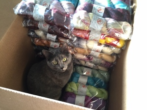 Shasta gives her seal of approval to this box of yarn for our TNNA display. Click to enlarge.