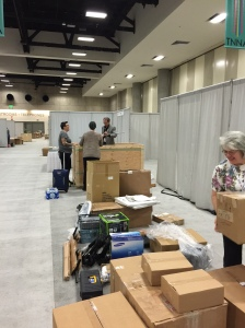 Setting up this year's TNNA booth - thankfully, our crate made it just in time! Click to enlarge.