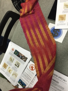 Woven scarf using Ancient Arts yarn by weaver we met at the last TNNA show.
