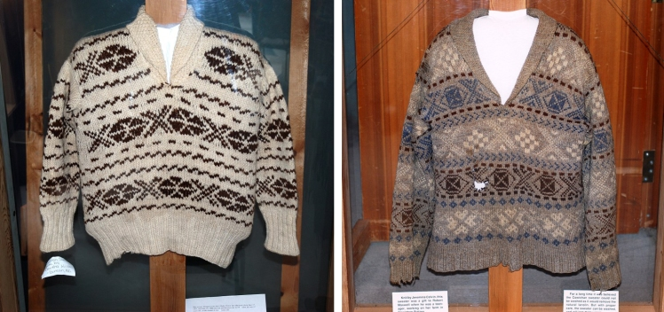 Sweater on the left, by Jeremina Colvin.  The blue was obtained from indigo.  Sweater on the left by an unknown Native lady, Both were knit in the early 1940's are on display at the Quw'utsun' Cultural Centre in Duncan BC…( copyright for pictures, C.M.Sommerfeld