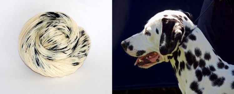 Dalmation, a new colour from Ancient Arts Yarn in the Woof Collection