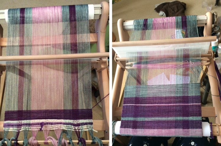 Weaving Progress: This one fascinated me because of how the colours changed. They are purple = Beaujolais Neauvoux, lilac is French Lilac, and the colour that looks green is actually fog warning which is greys with a touch of turquoise. Put it in here and it looks very green!