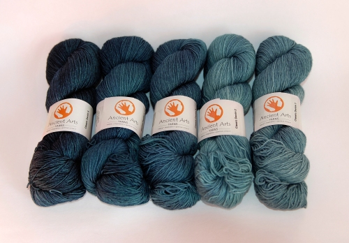 Gradient denim-inspired colours from Ancient Arts Yarn: Classic Denim