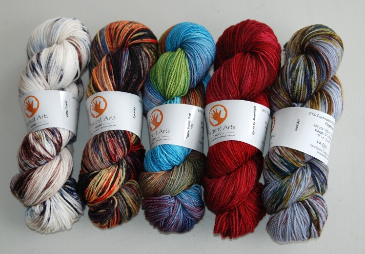 Five colours dyed on the latest Merino Nylon yarn!