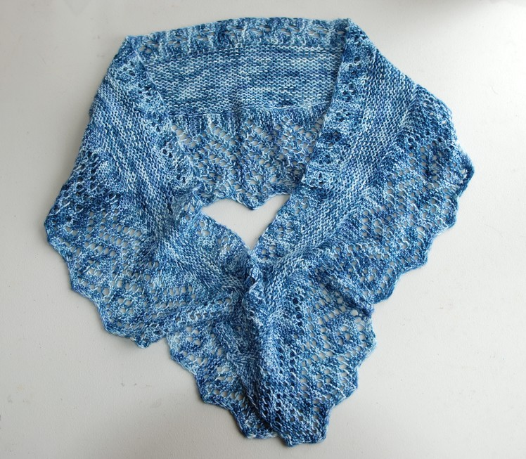 Orenburg Rhapsody knit with just one skein of Merino Nylon yarn in the Forever in Blue Jeans colourway.