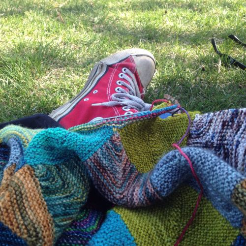 Knitting at a park while the kids play!
