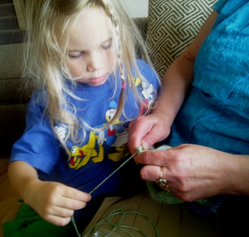 Teaching Kids How to Knit - Part 1 on the Ancient Arts Yarn blog.