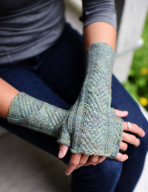 Tacit by Hunter Hammersen, knit in fingering weight yarn from Ancient Arts Yarn.