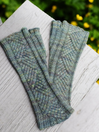 Tacit by Hunter Hammersen, knit with Ancient Arts fingering weight yarn.