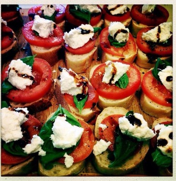 Fresh Mozzarella, Tomato, and Basil Crostini